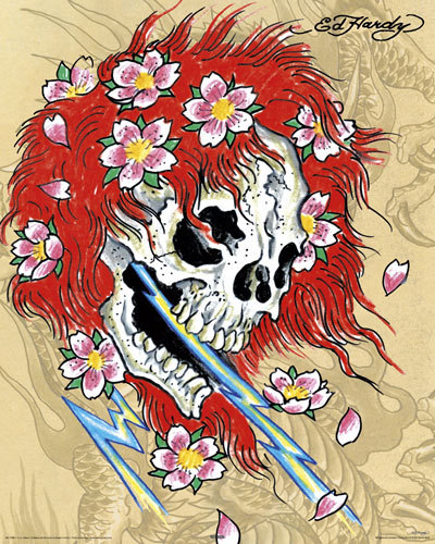 ed hardy red head skull mini paper poster laminated posters. Black Bedroom Furniture Sets. Home Design Ideas