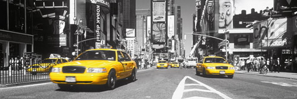 Poster New York Taxi.New York Yellow Cabs Times Square Door Paper Poster Laminated