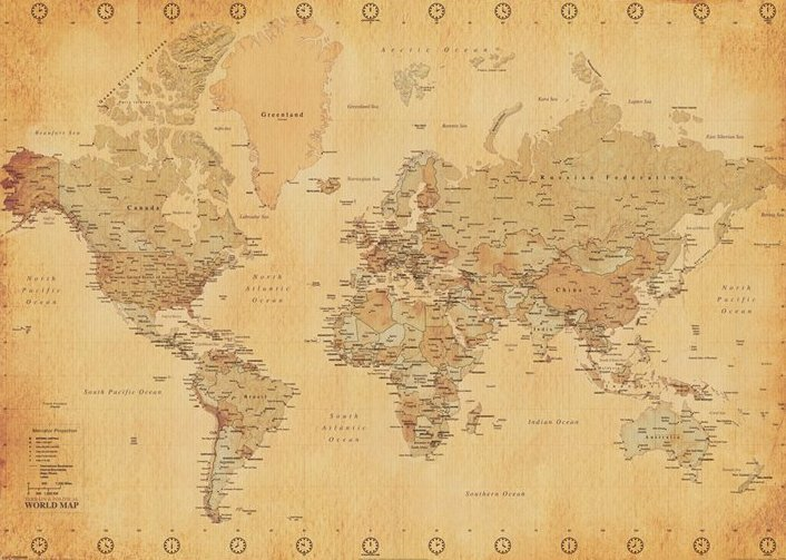 laminated world map vintage style giant poster