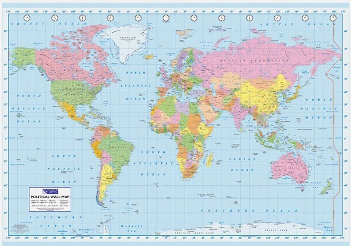 World political map giant paper poster laminated posters world political map giant paper poster gumiabroncs Images
