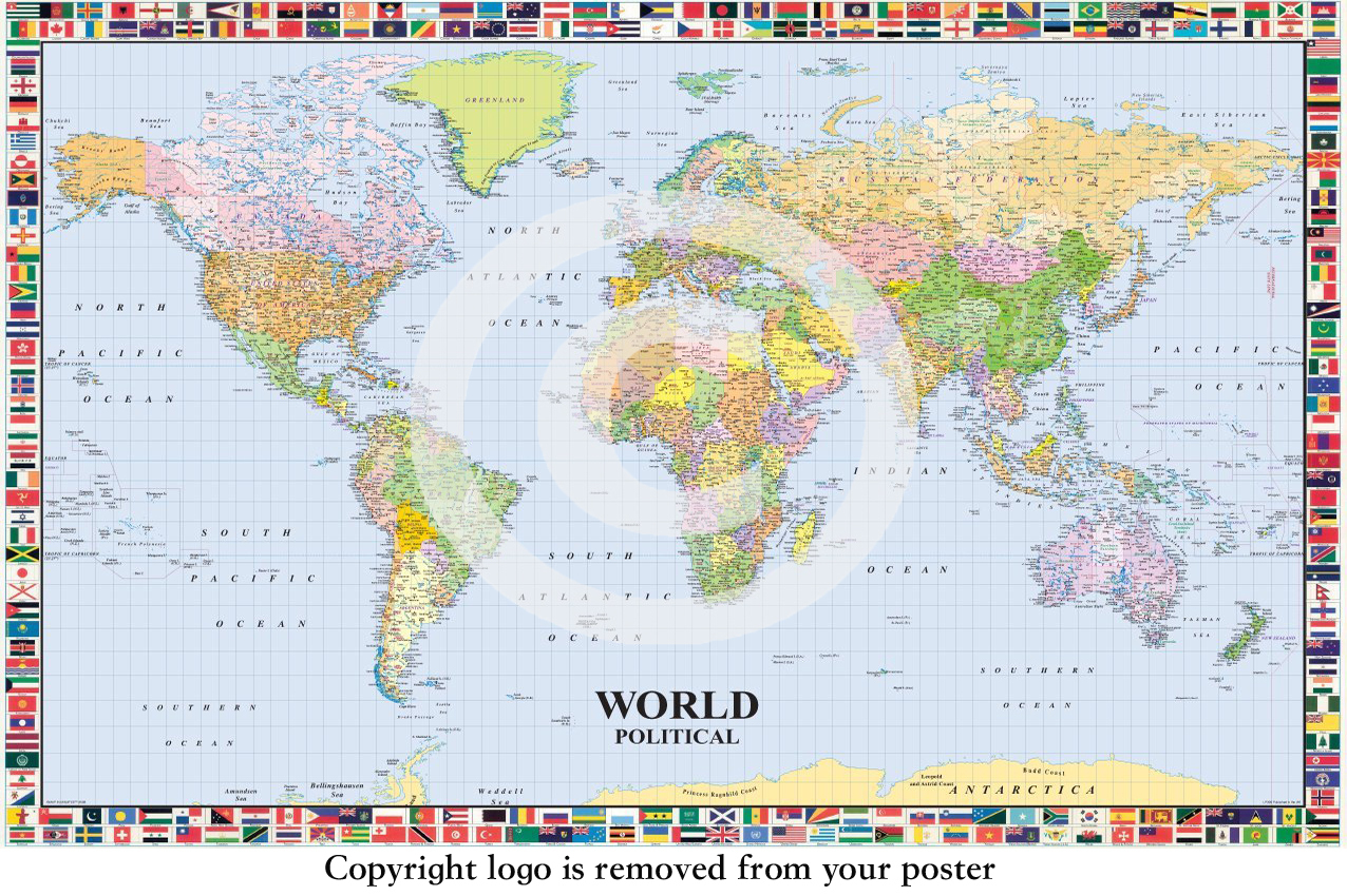 Laminated posters ltd music film art novelty memorabilia world political map with flags english paper poster gumiabroncs Image collections