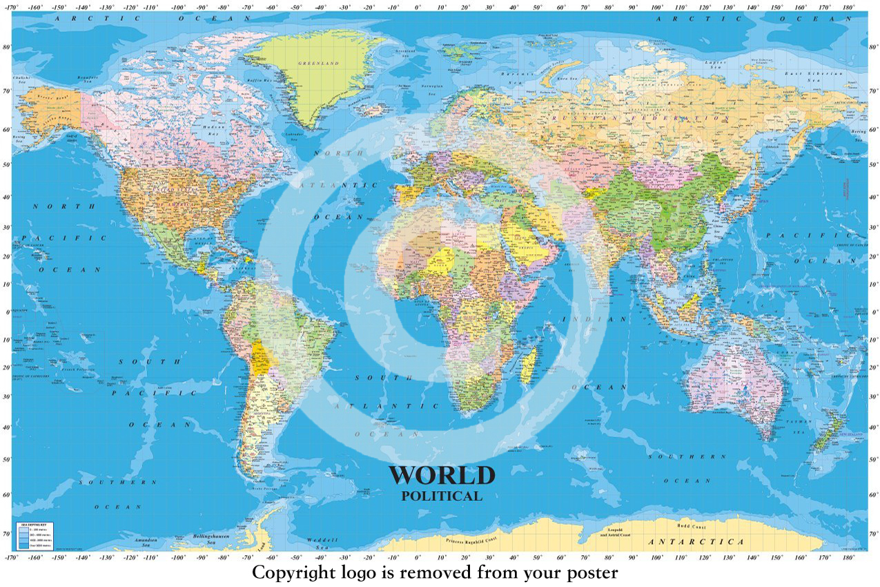 World political map with sea contours educational maxi paper world political map with sea contours educational maxi paper poster gumiabroncs Images