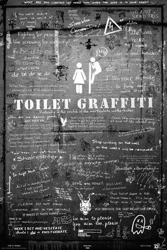 Toilet graffiti black maxi paper poster