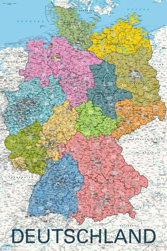 Map Of Deutschland Germany.Deutschland Germany Map In German Language Maxi Paper Poster