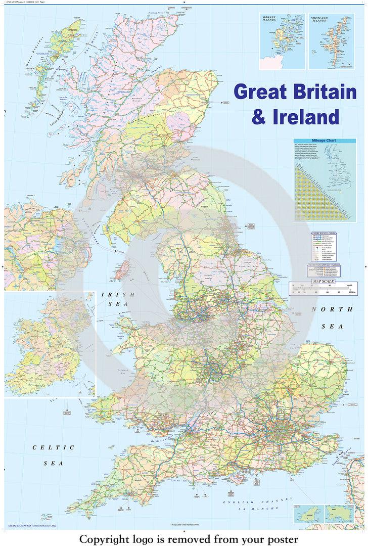 United Kingdom Gb Road Map Maxi Paper Poster Laminated