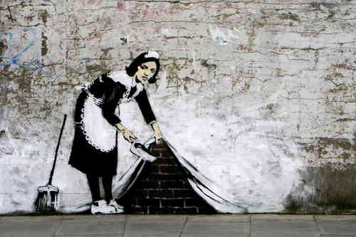 Banksy - Camden Maid Sweeping Mini Paper Poster