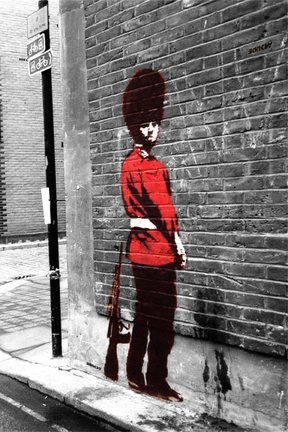 Banksy - Queen's Guard Pissing Mini Paper Poster