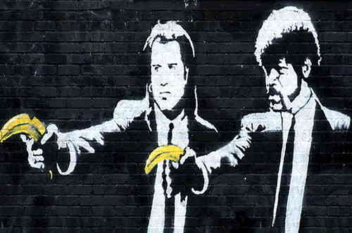 Banksy - Pulp Fiction Bananas Mini Paper Poster