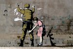 Black Framed - Banksy - Girl Searching Soldier Mini Poster