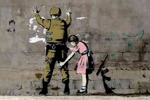 Banksy - Girl Searching Soldier Mini Paper Poster