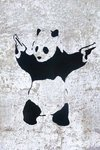 Black Framed - Banksy - Panda Guns Mini Poster