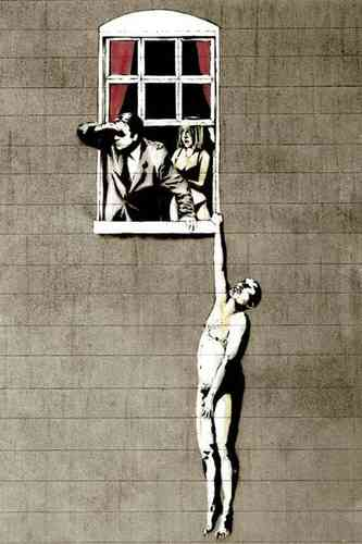 Banksy - Love Cheat Hanging Man Mini Paper Poster