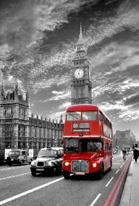 London - Red Bus Westminster Mini A2 Paper Poster