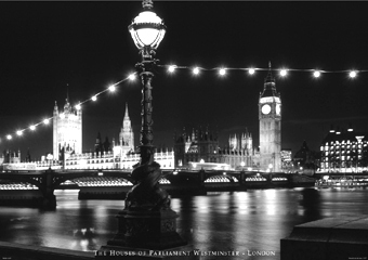 London Westminster at Night B/W Mini A2 Paper Poster