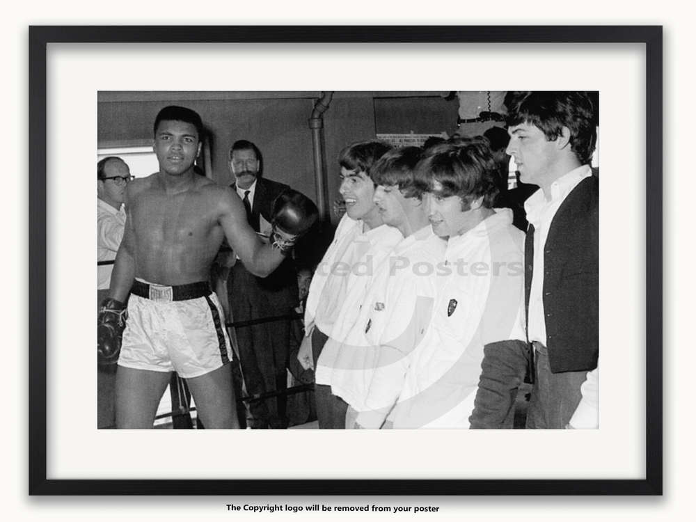Framed with WHITE mount Muhammad Ali & The Beatles - A1 Poster ...