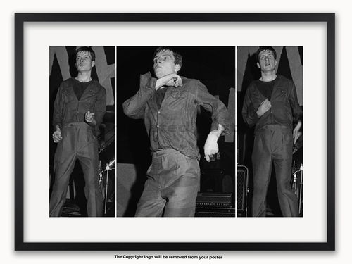 Framed with WHITE mount Ian Curtis - Joy Division - A1 Poster