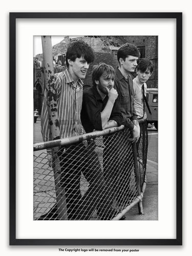 Framed with WHITE mount Joy Division - Stockport Barrier 1979 - A1 Poster