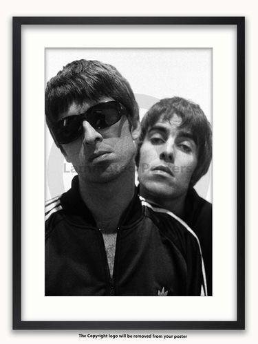 Framed with WHITE mount Oasis - Liam & Noel - A1 Poster