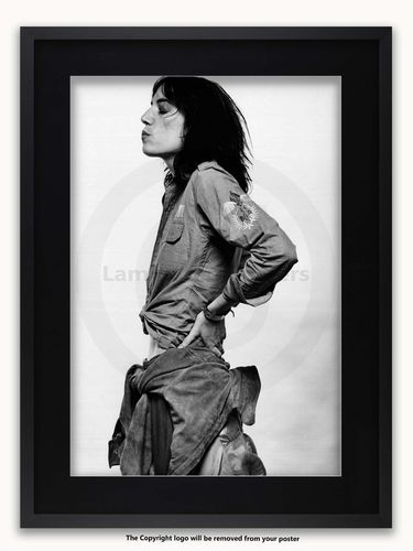 Framed with BLACK mount Patti Smith - Amsterdam 1976 - A1 Rock Poster