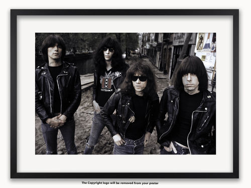 Framed with WHITE mount Ramones - Amsterdam 1977 - A1 Punk Rock Poster