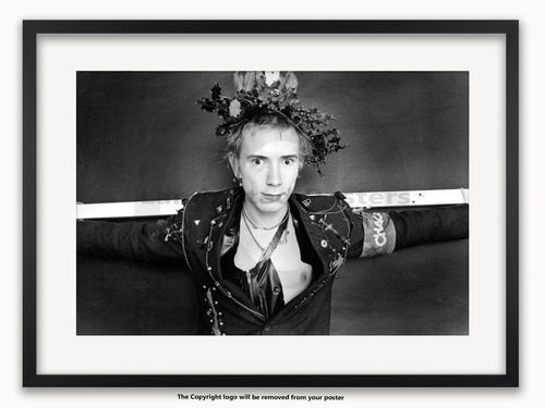 Framed with WHITE mount Sex Pistols - Johnny Rotten - Christmas 1976 - A1 Poster