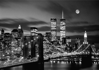 New York City - Twin Towers at Night Mini A2 Paper Poster