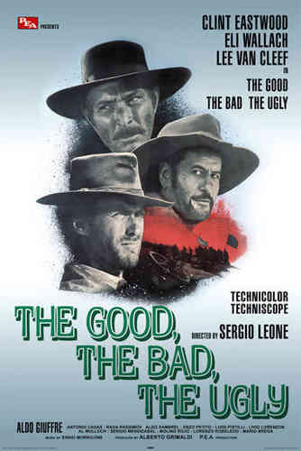 Good The Bad and The Ugly - Blue Art- Maxi Paper Poster