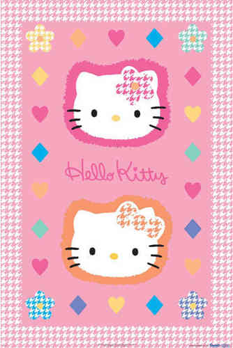 Hello Kitty - Pink  - Dog Tooth Border v Maxi Paper Poster
