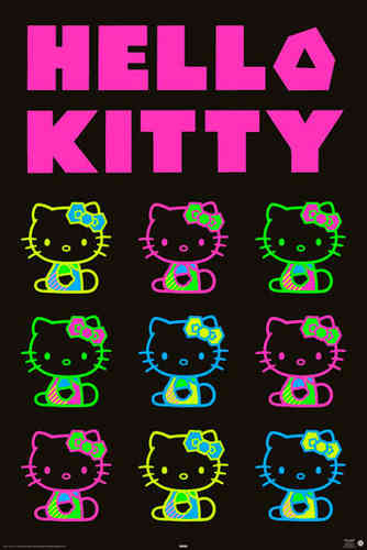 Hello Kitty - Neon Maxi Paper Poster