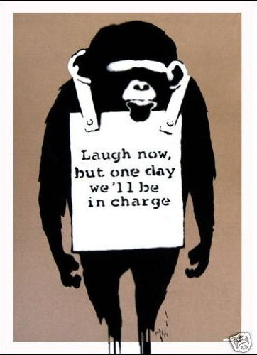 "Banksy - Monkey ""One day we will be in charge"" Mini Paper Poster"