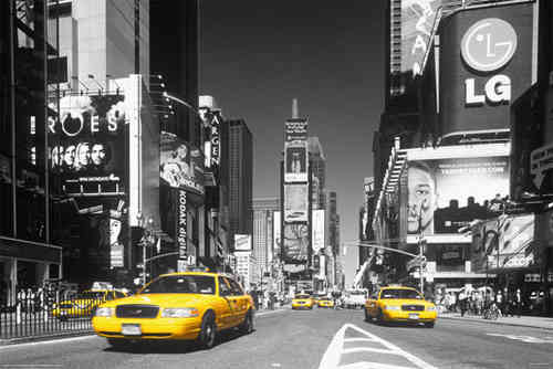 New York - Times Square - Yellow Taxis - H - Maxi Paper Poster