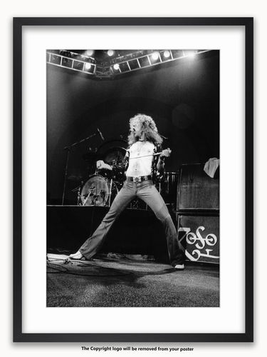 Framed with WHITE mount Led Zeppelin - Robert Plant 1975 - A1 Poster