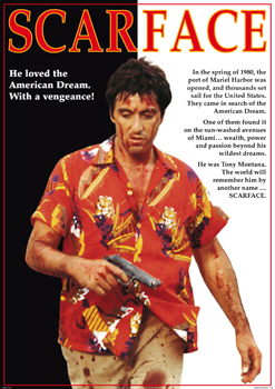 Scarface Al Pacino Red Shirt Paper Poster