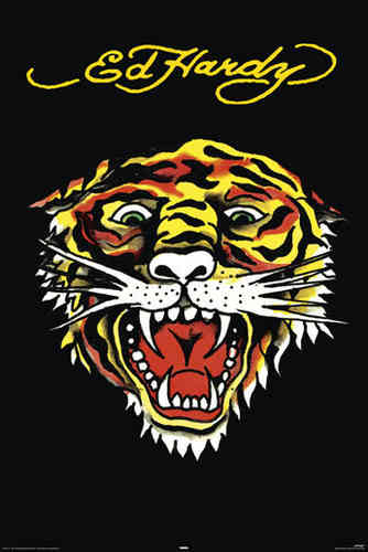 Ed Hardy  - Tiger Face - Maxi Paper Poster