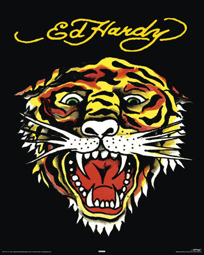 Ed Hardy - Tiger Face - Mini Paper Poster