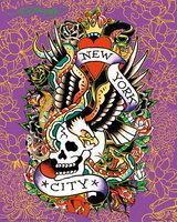 Ed Hardy - New York City, Purple - Mini Paper Poster
