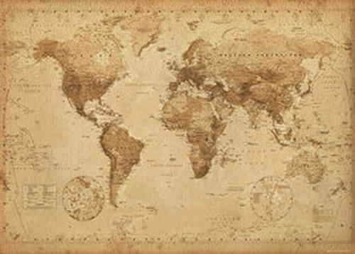World Map Vintage - Giant Paper Poster