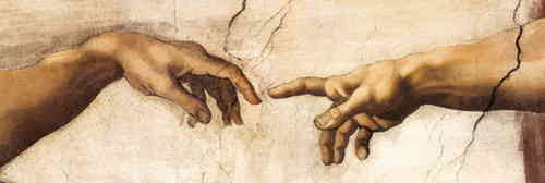 Creation of life Hands by Leonardo Da Vinci - Door Paper Poster