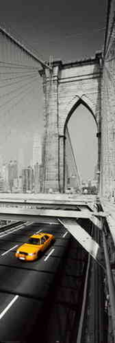 New York Yellow Cab Brooklyn Bridge - Door Paper Poster