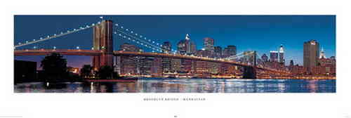 New York Brooklyn Bridge Colour - Door Paper Poster