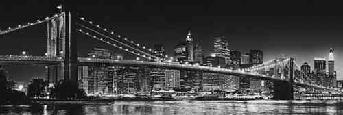 New York Brooklyn Bridge B/W - Door Paper Poster