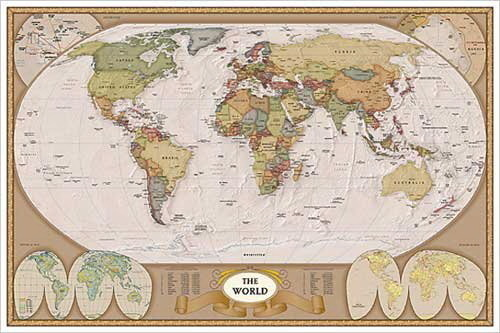 Map - The World, Vintage finished - Maxi Paper Poster