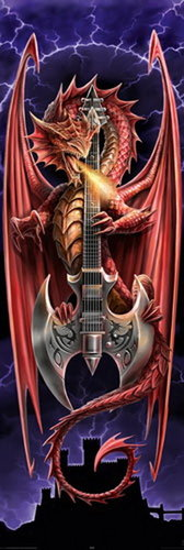 Anne Stokes, Powerchord Guitar Dragon - Door Paper Poster