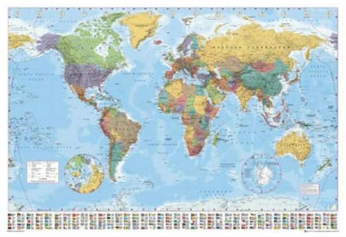 World Political Map Polar Caps Flags - Giant Paper Poster