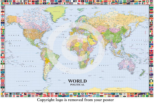 World Political Map with Flags English - Paper Poster
