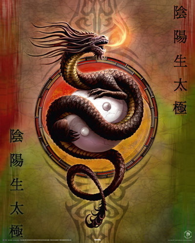 Ying Yang Dragon - Mini Paper Poster