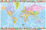 World Map -  Printed Flags, Top and Bottom, 2011 Edition - Maxi Paper Poster