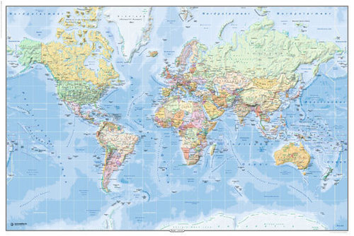 World Political - Map in GERMAN Language - Maxi Paper Poster