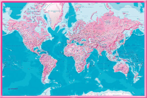 World Political - Pink Map in GERMAN Language - Maxi Paper Poster