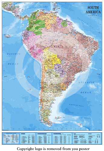 South America Map 2015 Edition - Paper Poster